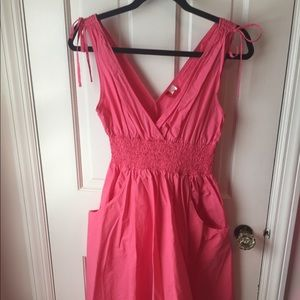 Coral pink crinkle dress